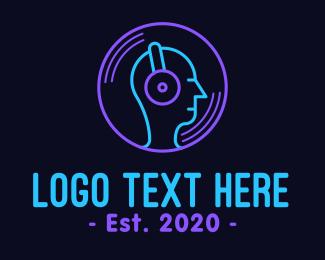 Listening - Neon Music DJ logo design
