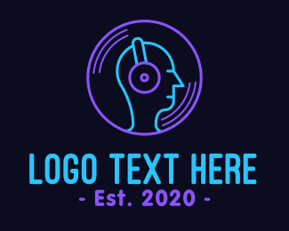 Disco Bar - Neon Music DJ logo design