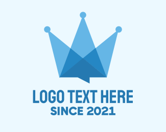 Message Bubble - Blue Crown Message logo design