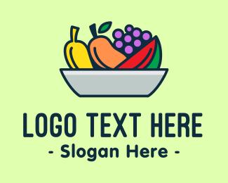 Grapes - Fresh Fruits Platter logo design
