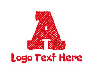 Knitting - Red Letter A logo design