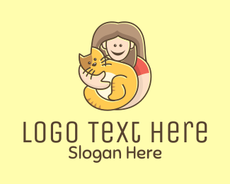 Pet Groomer - Pet Cat Person logo design