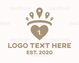 Bride - Pin Crown Heart logo design