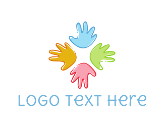 School - Colorful Hands logo design