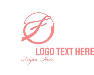 Cursive - Pink Cursive F logo design