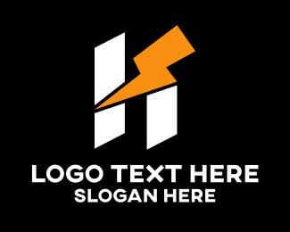 Volt - Thunderbolt Letter H logo design