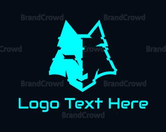 Distorted - Cyan Distorted Wolf logo design