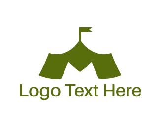 Rank - Green M Tent logo design