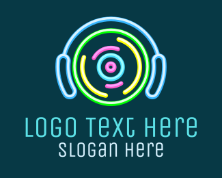 Episode - Neon Vynil & Headphones logo design