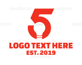 Fifth - Light Bulb Number 5 logo design