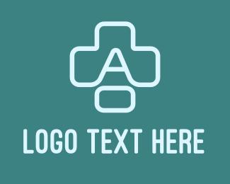 Medical Worker - Blue Cross Letter A logo design