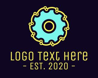 Link - Blue Industrial Disc logo design