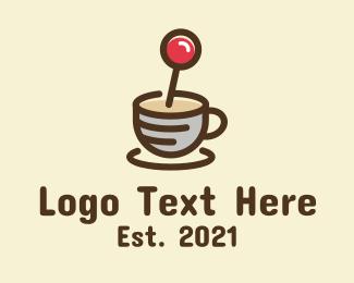 Twitch - Coffee Cup Joystick logo design