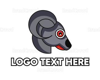 Dairy - Grey Goat Head  logo design