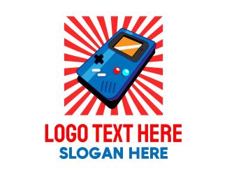 Arcade - Retro Japanese Sunburst Video Game logo design