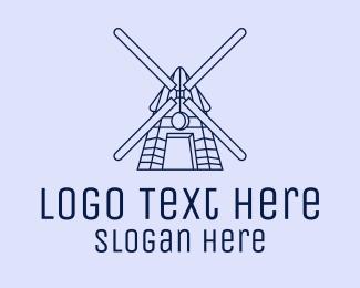 Farmhouse - Minimalist Windmill logo design