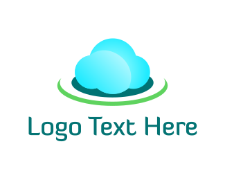 Dish - Blue & Green Cloud logo design