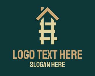 Ladder - House Ladder Roof logo design
