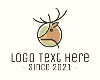 Deer Head - Simple Reindeer Monoline logo design