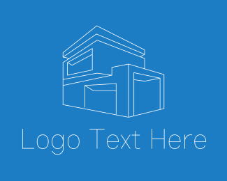 3D Modeling - Geometric House Building logo design