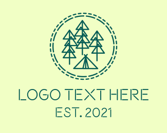 Camping Ground - Pine Forest Campsite logo design
