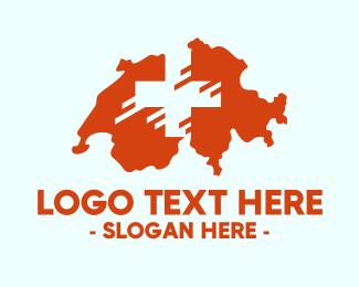 Switzerland - Swiss Red Switzerland Map logo design