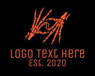 Skeleton - Halloween Skeleton Hands logo design