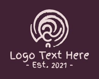 Cave Painting - Brown Swirly Ornament logo design