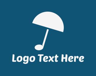 Dj - Musical Umbrella logo design