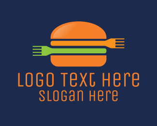 Burger Bar - Fork Burger  logo design