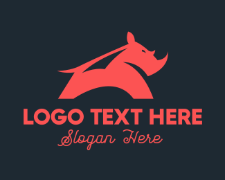 Big - Red Strong Rhinoceros logo design