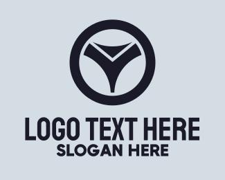 Autosport - Black Steering Wheel Letter Y logo design