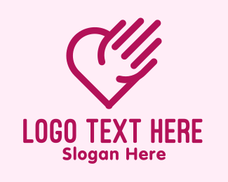 Dating Forum - Simple Hand Heart  logo design