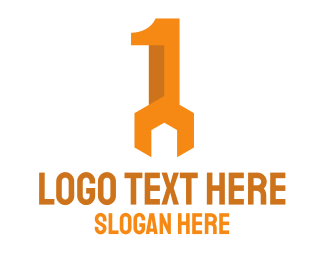 Number 1 - Orange Wrench Number 1 logo design