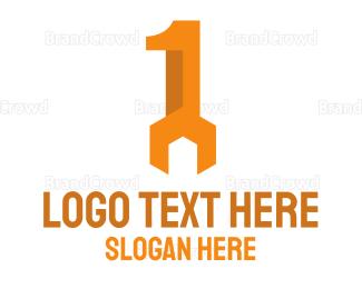 Hardware - Orange Wrench Number 1 logo design
