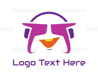 Stereo - Funky Purple Headset logo design