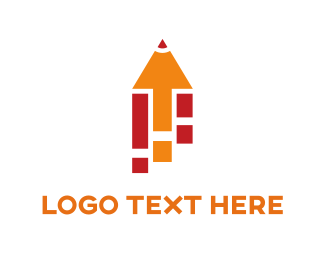 Education Orange Pencil logo design