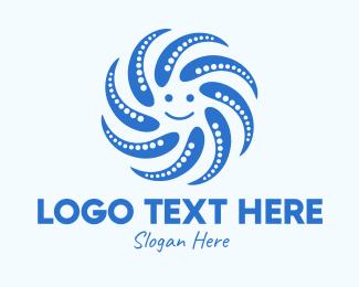 Mollusk - Blue Smiley Octopus  logo design