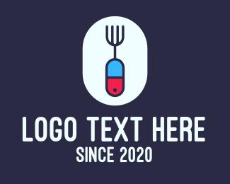 Pill - Medicinal Pill Fork logo design
