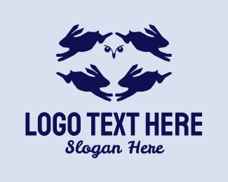 Bird Of Prey - Owl Rabbits  logo design