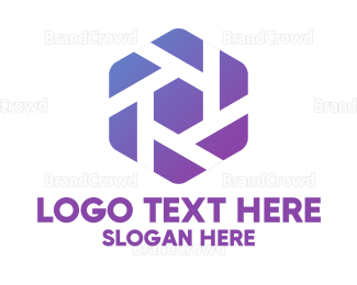 Corporation - Purple Hexagon Shutter logo design