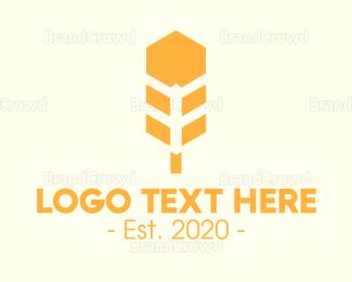 Crops - Hexagon Wheat logo design