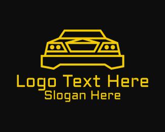 Racing - Minimalist Yellow Sports Car  logo design