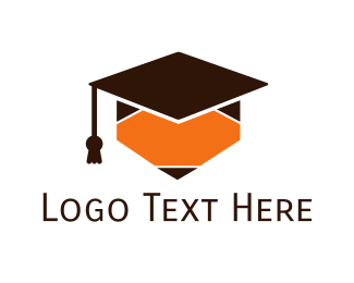 Learn - Pencil Graduation Cap logo design