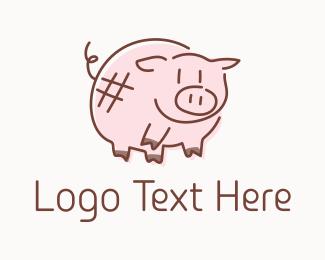 Pork - Piglet Animal Mascot logo design