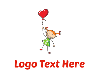 Smiling - Girl & Heart Balloon logo design
