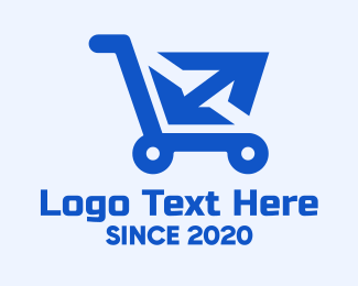Crate - Blue Package Shopping Cart logo design