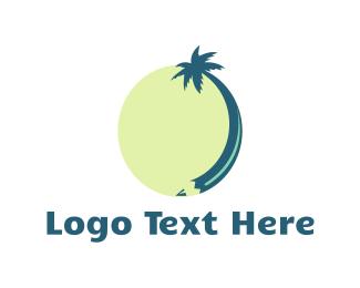 Palm Tree - Pencil Tree logo design