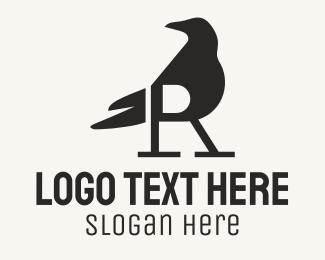 Crow - Black Raven Letter R logo design