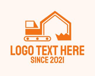 Excavator - Construction House Excavator logo design